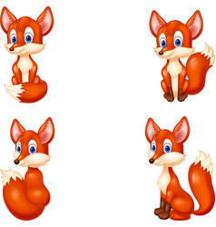 cartoon fox collection set vector image