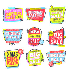 christmas big sale sticker set template vector image