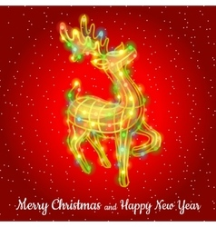 Christmas deer from garland sparkling silhouette vector