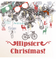 christmas hand drawn background xmas decorations vector image