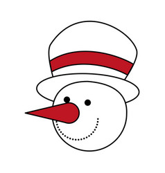 color silhouette image of face of snowman with hat vector image