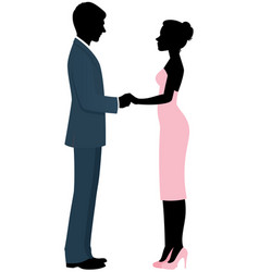 couple lovers bride and groom holding hands vector image