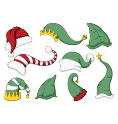 cute collection of santa hat cartoon vector image
