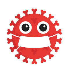 Cute red germ virus with mouth vector