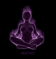 Dark concept of woman meditaion sacral vector