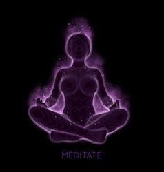 dark concept woman meditaion sacral vector image