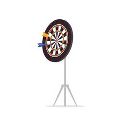 Darts board with arrows flat vector