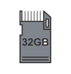 data storage line filled icon vector image