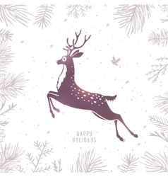 Deer silhouette Christmas vector image vector image