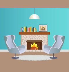designer room with fireplace and armchairs vector image
