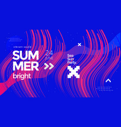 Electro summer wave music poster club party flyer vector