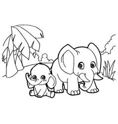 elephant cartoon coloring pages vector image