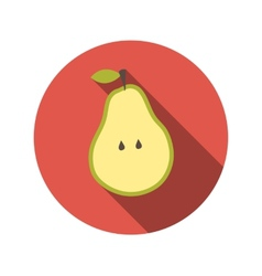 Flat Design Concept Pear With Long Shadow vector image