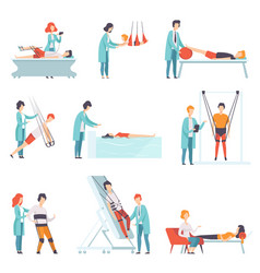 Flat set of people doing rehabilitation vector