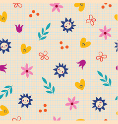 Flowers hearts nature seamless pattern vector