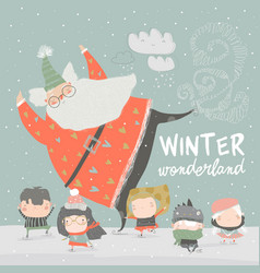 funny santa claus skating with cute kids vector image