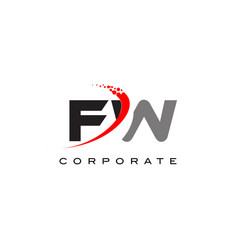 fw modern letter logo design with swoosh vector image