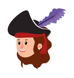 Girl head with pirate costume and hairstyle vector