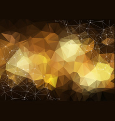 Gold geometric low poly background shiny metallic vector