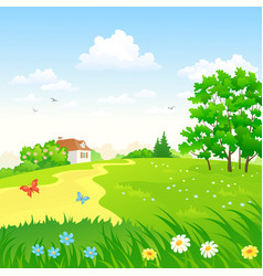 Green countryside landscape vector