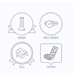 Gypsum lab beaker and medical pills icons vector