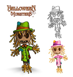 Halloween monster spooky scarecrows eps10 file vector