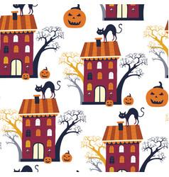 halloween seamless pattern holiday design vector image