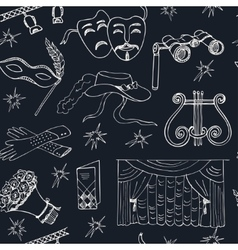 Hand drawn doodle Theater seamless pattern vector