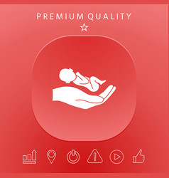 hands holding baby protect vector image