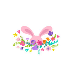 Happy easter bunny with flowers design vector