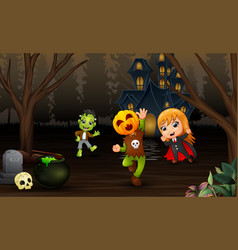 Happy kids celebration halloween day with haunted vector