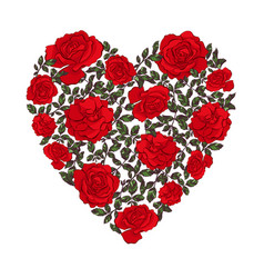 heart made floral shape with leaves and roses vector image