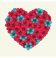 Heart with flowers painted in graphic style retro vector
