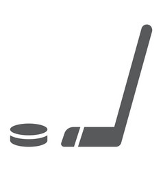 hockey glyph icon game and sport hockey vector image