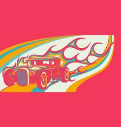 hot classic custom car cartoon vector image