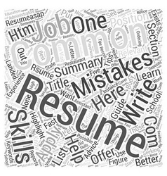 How To Write A Resume Word Cloud Concept vector image