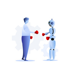 human vs robots business challenge concept vector image