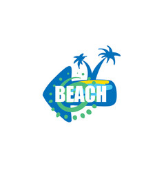 icon for beach with image a palm vector image