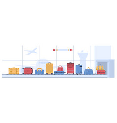 luggage airport carousel baggage suitcases vector image