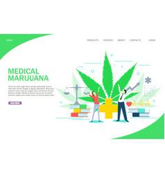 Medical marijuana landing page website vector