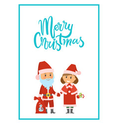 merry christmas poster santa claus and snow maiden vector image