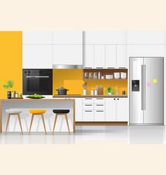 Modern colorful kitchen interior background vector