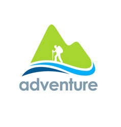 Mountain hiking travel adventure logo vector