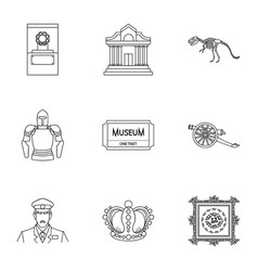 Museum set icons in outline style big collection vector
