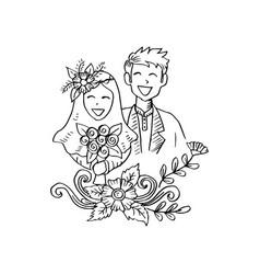 Muslim couple wedding card vector