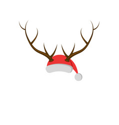 new year mask hat of santa claus with deer horns vector image