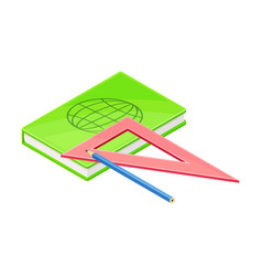 Notepad and triangular ruler as geology instrument vector