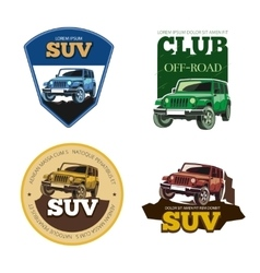 Off-road car emblems labels and logos vector