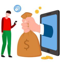 Online loan concept big hand is appeared vector