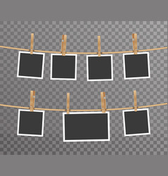 photo card frame rope hanging digital photography vector image